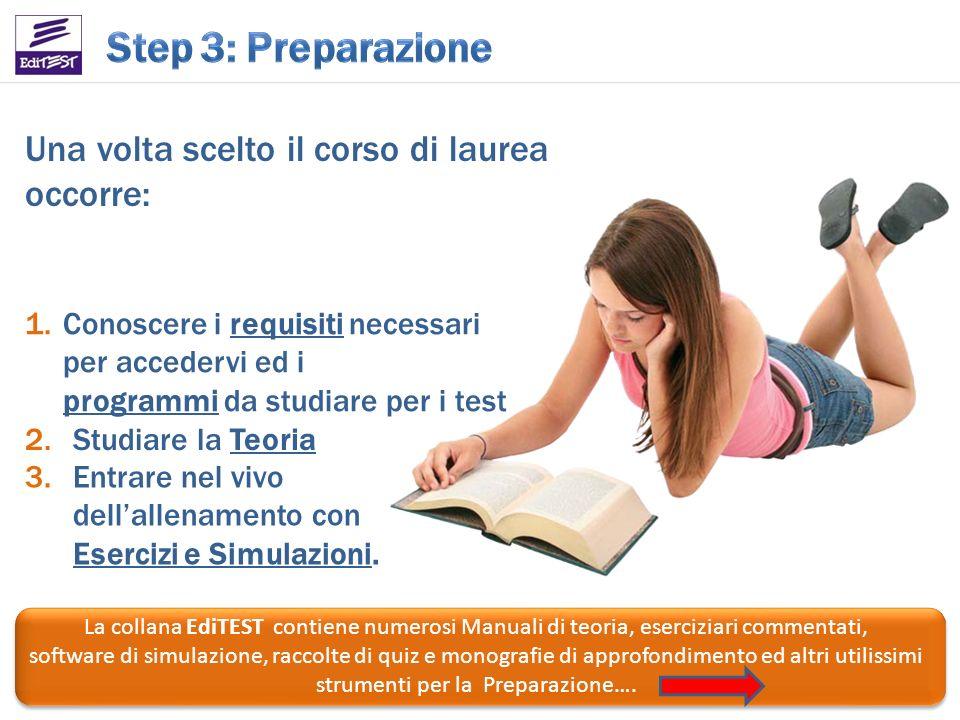 Una volta scelto il corso di laurea occorre: La collana EdiTEST contiene numerosi Manuali di teoria, eserciziari commentati, software di simulazione,