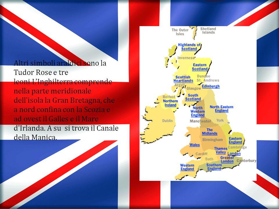 Altri simboli araldici sono la Tudor Rose e tre leoni.LInghilterra comprende nella parte meridionale dell'isola la Gran Bretagna, che a nord confina c