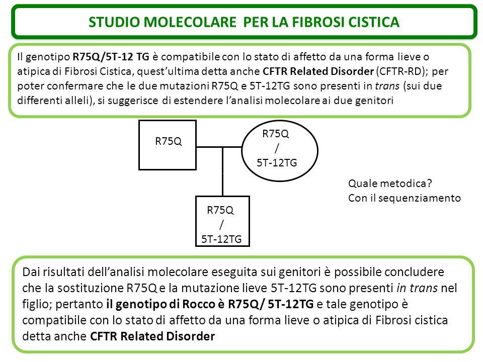 STUDIO MOLECOLARE PER LA FIBROSI CISTICA Il genotipo R75Q/5T-12 TG è compatibile con lo stato di affetto da una forma lieve o atipica di Fibrosi Cisti