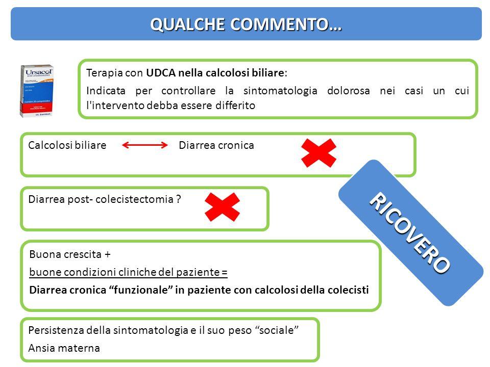 Calcolosi biliare Diarrea cronica Diarrea post- colecistectomia ? Buona crescita + buone condizioni cliniche del paziente = Diarrea cronica funzionale