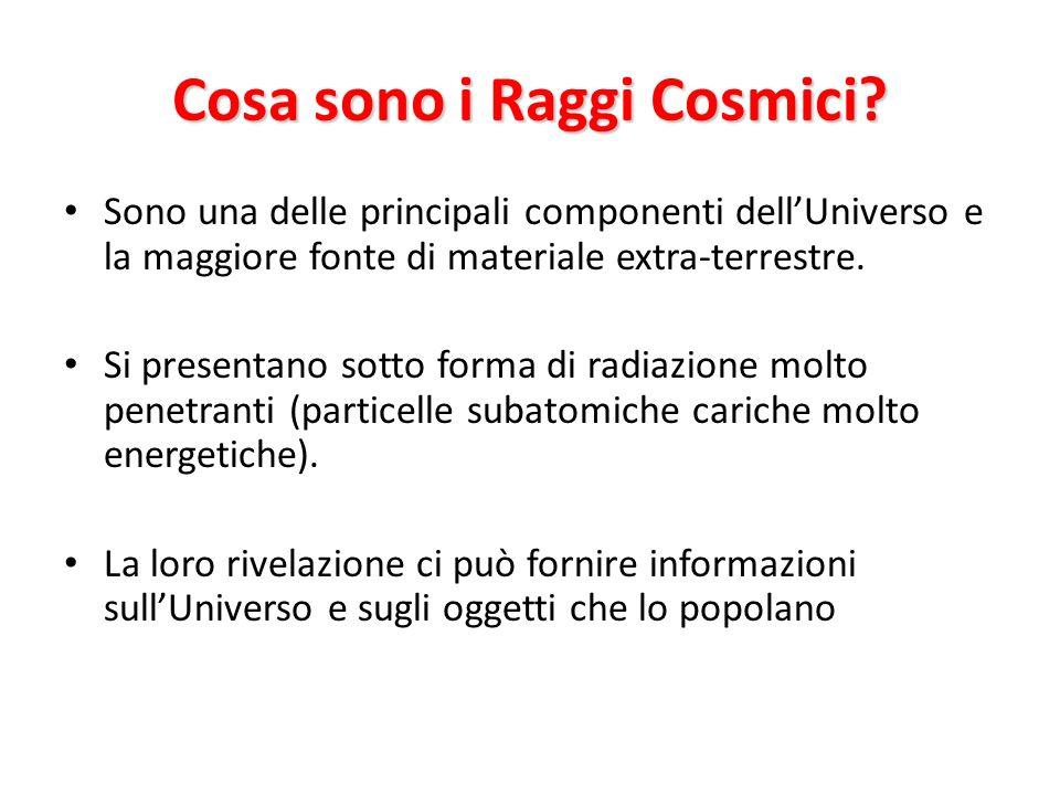 Cosa sono i Raggi Cosmici? Sono una delle principali componenti dellUniverso e la maggiore fonte di materiale extra-terrestre. Si presentano sotto for