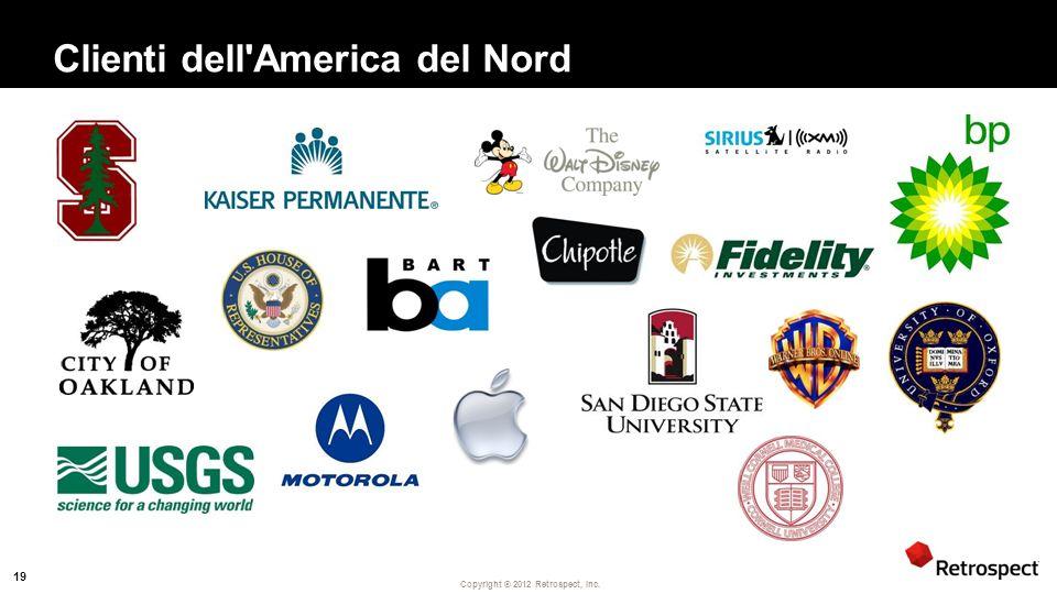 Copyright ® 2012 Retrospect, Inc. Clienti dell America del Nord 19