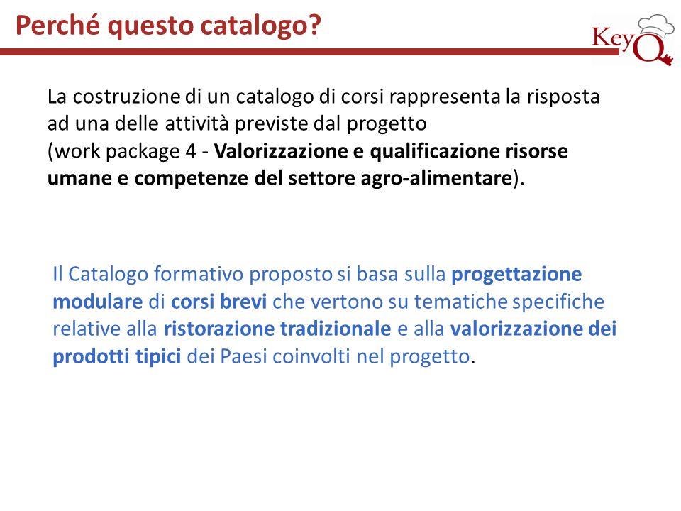Il Catalogo formativo proposto si basa sulla progettazione modulare di corsi brevi che vertono su tematiche specifiche relative alla ristorazione trad