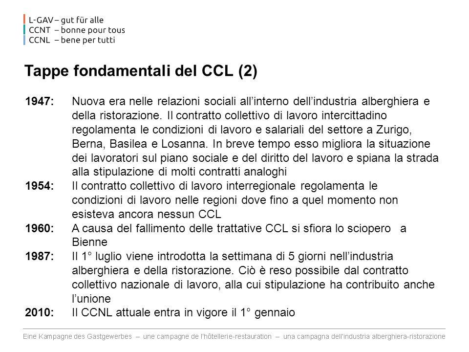 Tappe fondamentali del CCL (2) 1947: Nuova era nelle relazioni sociali allinterno dellindustria alberghiera e della ristorazione. Il contratto collett
