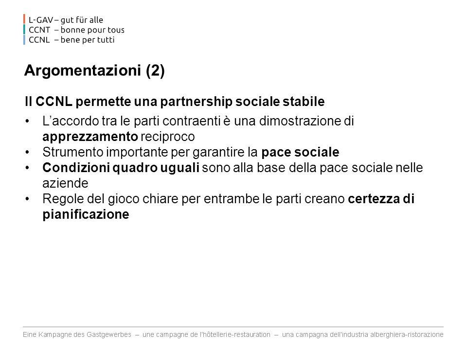 Argomentazioni (2) Il CCNL permette una partnership sociale stabile Laccordo tra le parti contraenti è una dimostrazione di apprezzamento reciproco St