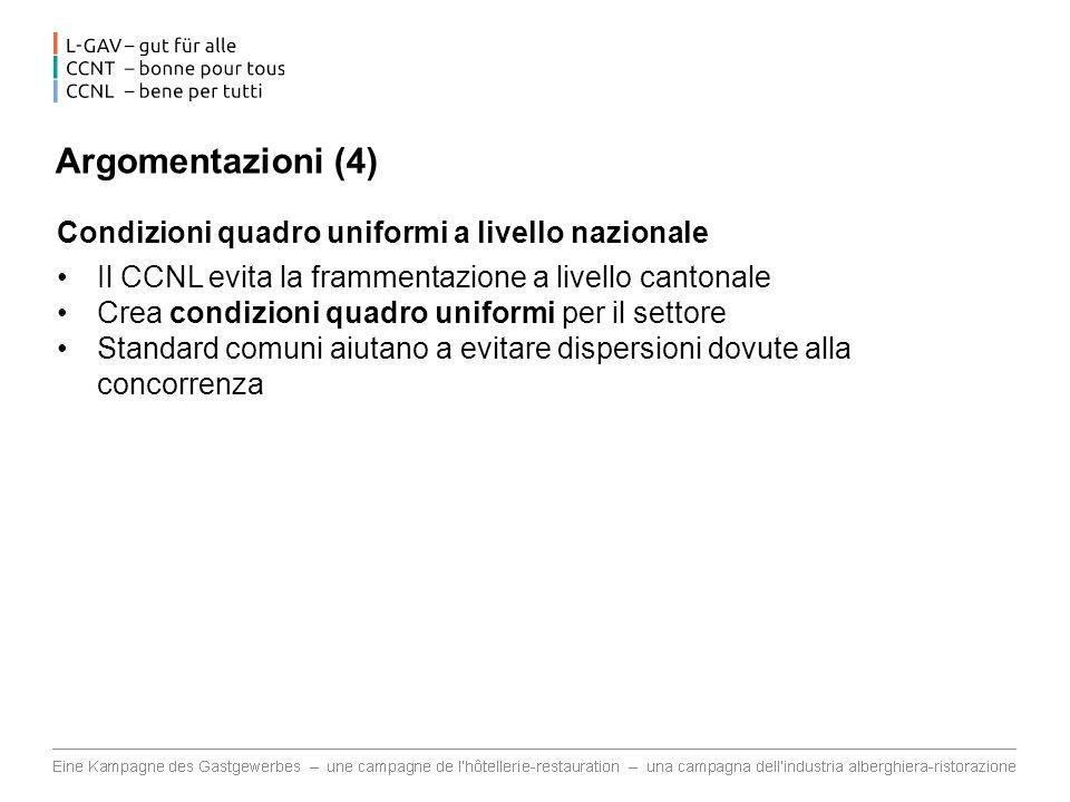 Argomentazioni (4) Condizioni quadro uniformi a livello nazionale Il CCNL evita la frammentazione a livello cantonale Crea condizioni quadro uniformi