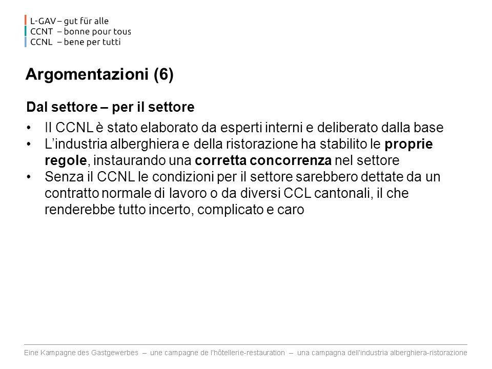 Argomentazioni (6) Dal settore – per il settore Il CCNL è stato elaborato da esperti interni e deliberato dalla base Lindustria alberghiera e della ri