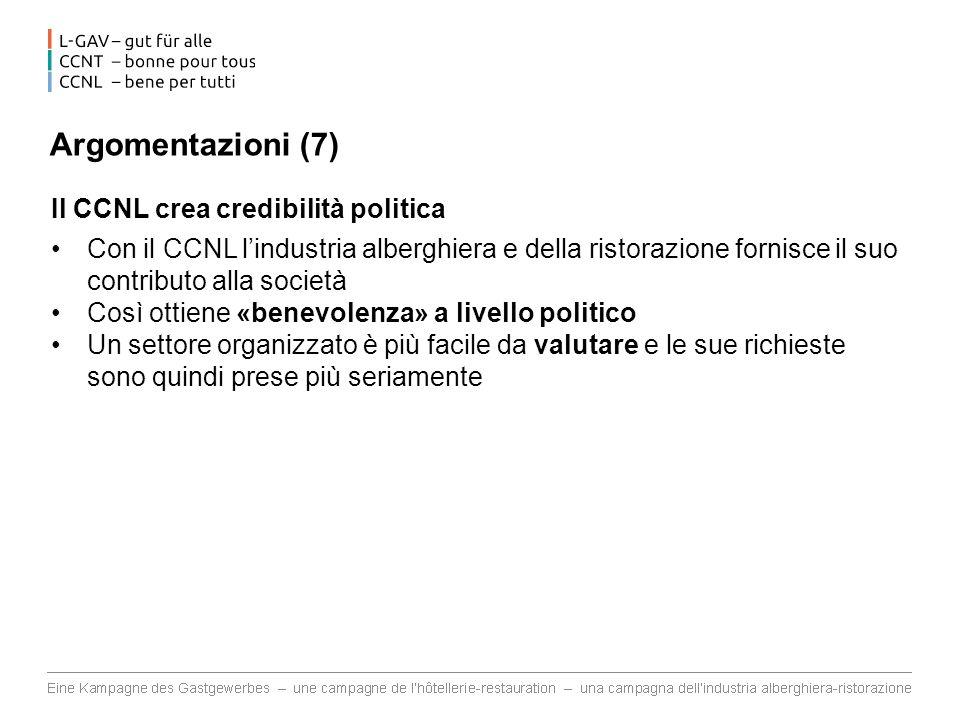 Argomentazioni (7) Il CCNL crea credibilità politica Con il CCNL lindustria alberghiera e della ristorazione fornisce il suo contributo alla società C