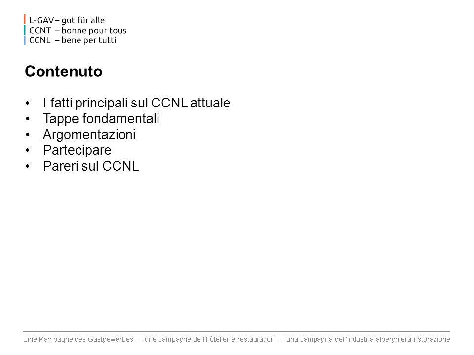 Contenuto I fatti principali sul CCNL attuale Tappe fondamentali Argomentazioni Partecipare Pareri sul CCNL