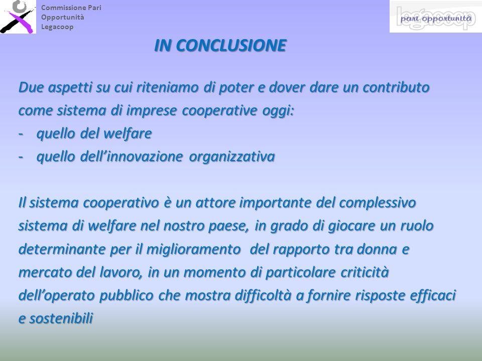 Commissione Pari Opportunità Legacoop IN CONCLUSIONE Due aspetti su cui riteniamo di poter e dover dare un contributo come sistema di imprese cooperat