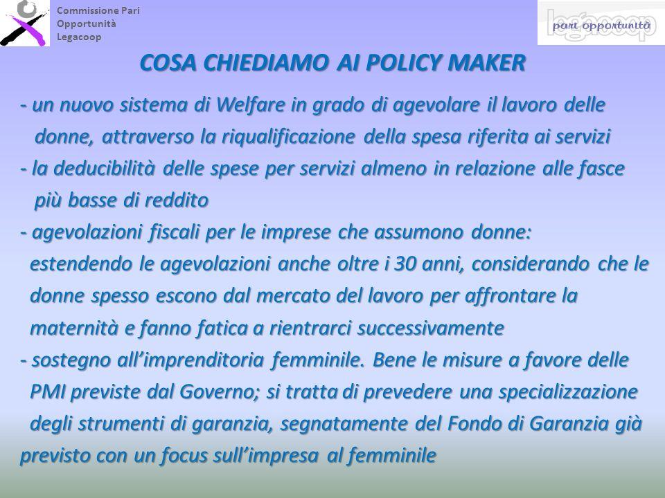 Commissione Pari Opportunità Legacoop COSA CHIEDIAMO AI POLICY MAKER - un nuovo sistema di Welfare in grado di agevolare il lavoro delle donne, attrav