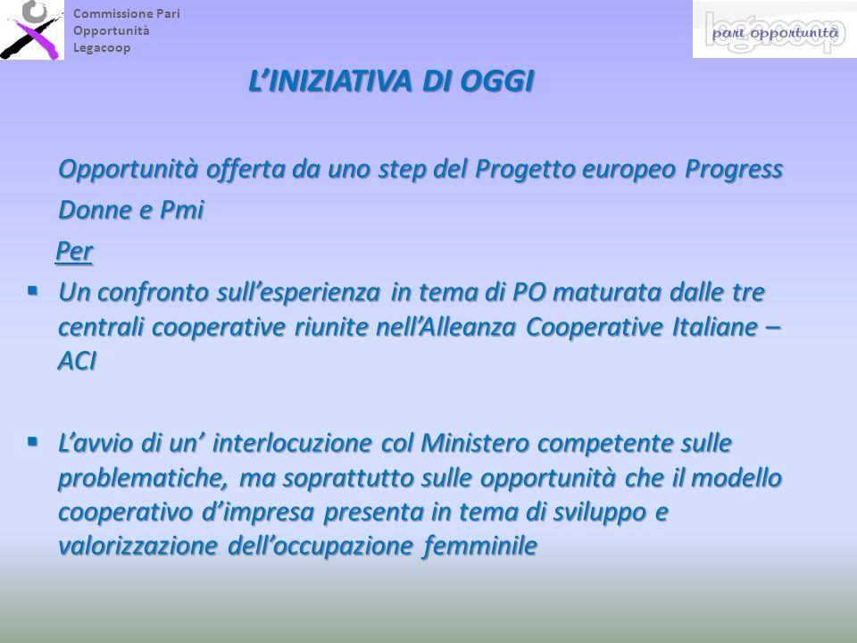 LINIZIATIVA DI OGGI Opportunità offerta da uno step del Progetto europeo Progress Opportunità offerta da uno step del Progetto europeo Progress Donne