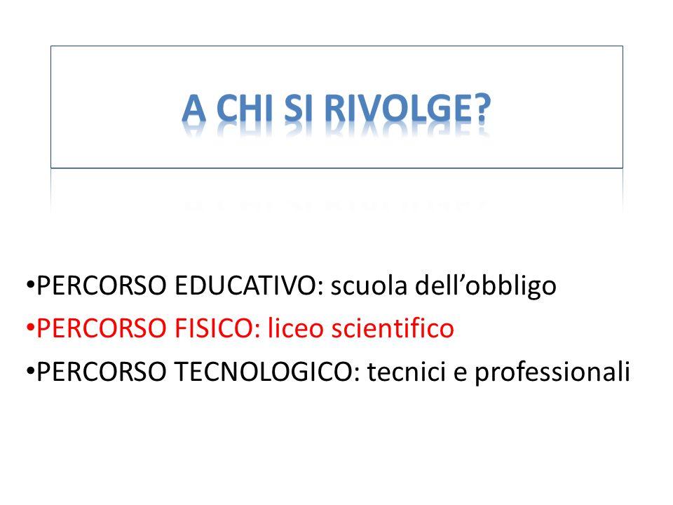 PERCORSO EDUCATIVO: scuola dellobbligo PERCORSO FISICO: liceo scientifico PERCORSO TECNOLOGICO: tecnici e professionali