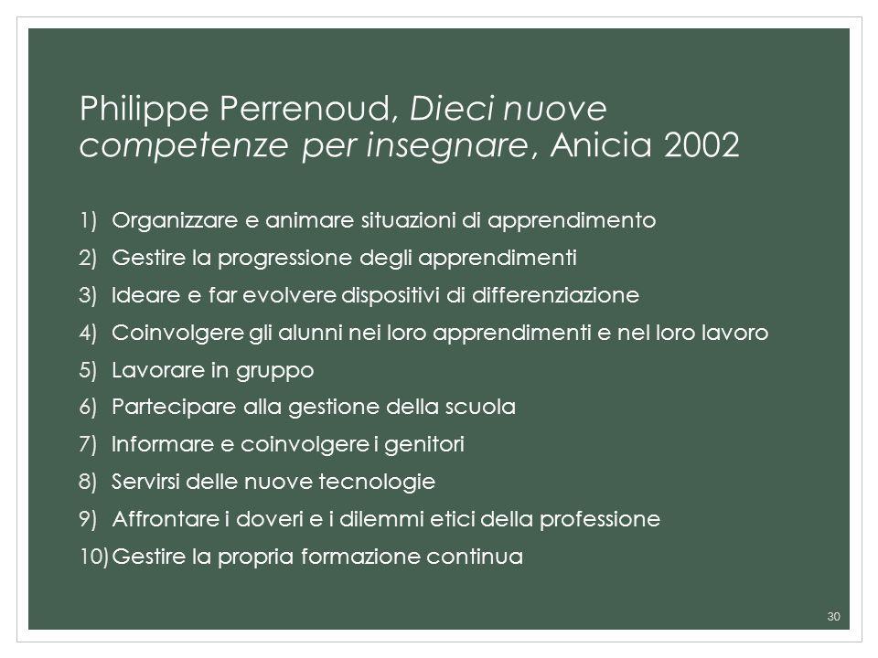 Philippe Perrenoud, Dieci nuove competenze per insegnare, Anicia 2002 1)Organizzare e animare situazioni di apprendimento 2)Gestire la progressione de