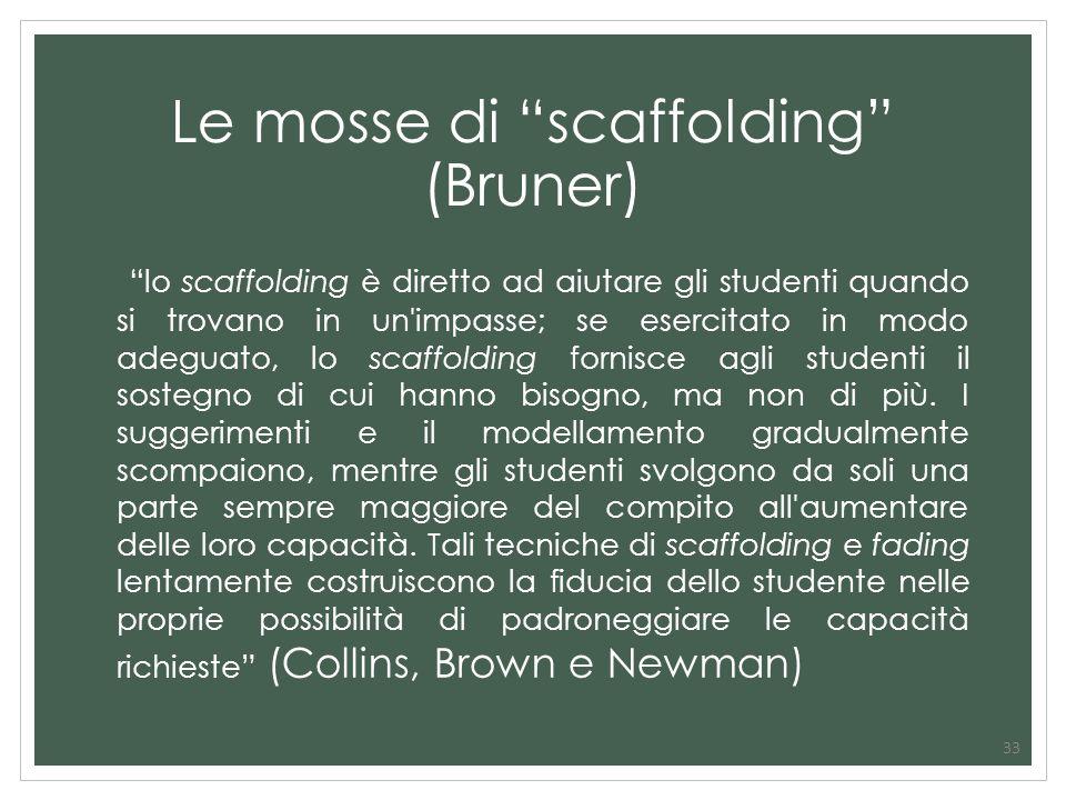 33 Le mosse di scaffolding (Bruner) lo scaffolding è diretto ad aiutare gli studenti quando si trovano in un'impasse; se esercitato in modo adeguato,