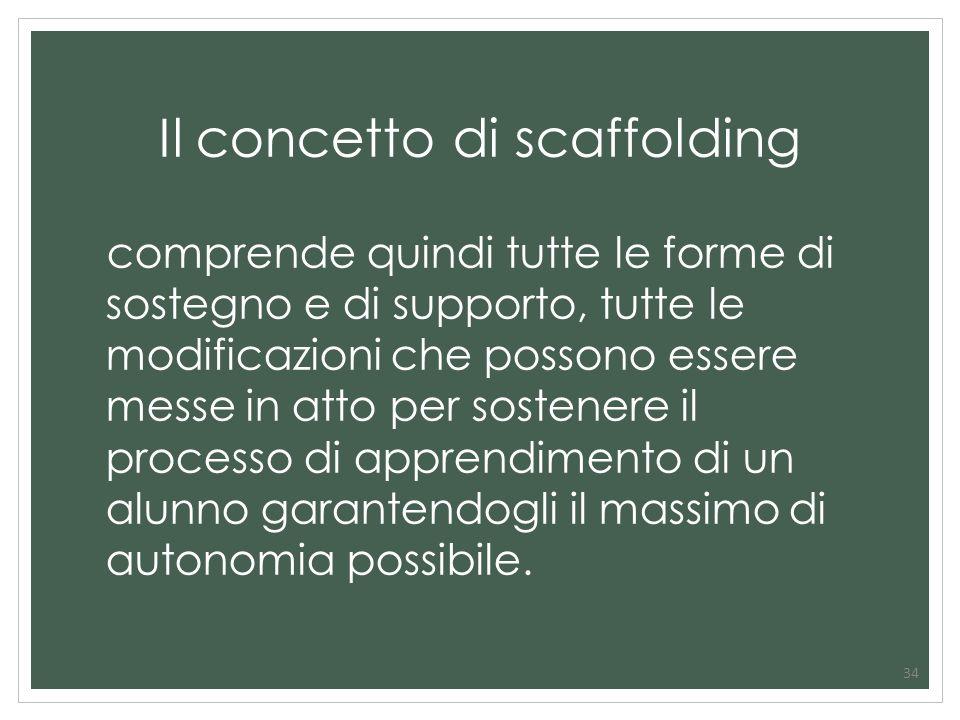 34 Il concetto di scaffolding comprende quindi tutte le forme di sostegno e di supporto, tutte le modificazioni che possono essere messe in atto per s