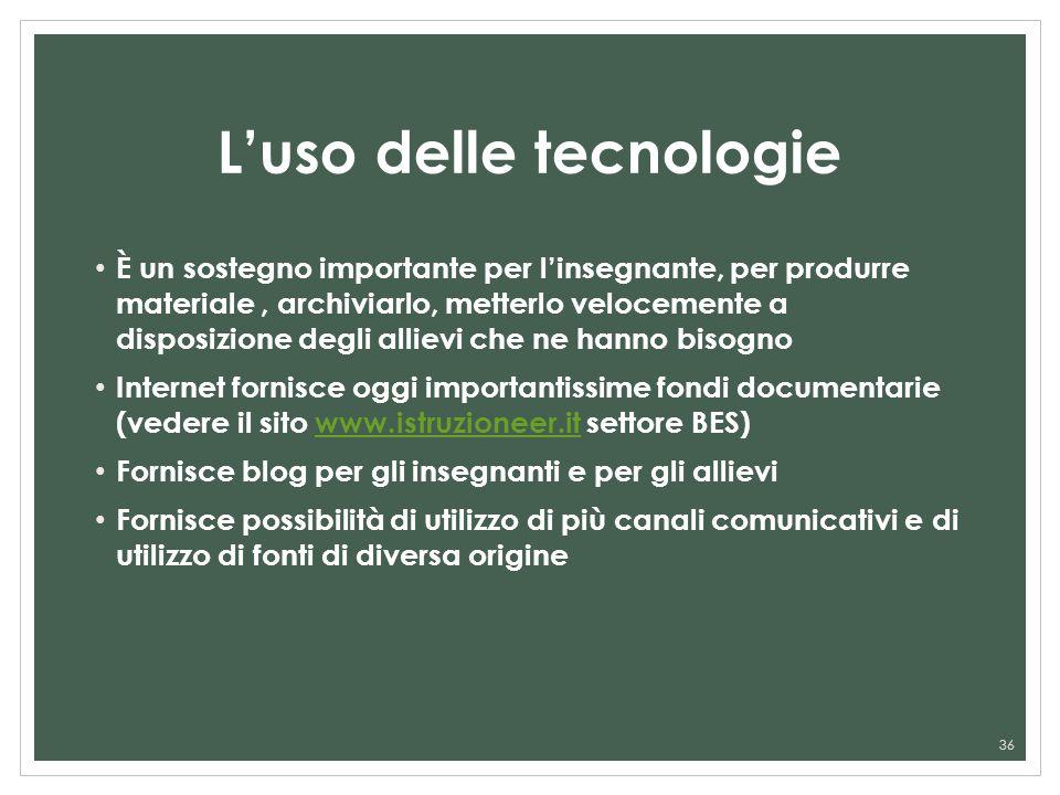 Luso delle tecnologie È un sostegno importante per linsegnante, per produrre materiale, archiviarlo, metterlo velocemente a disposizione degli allievi