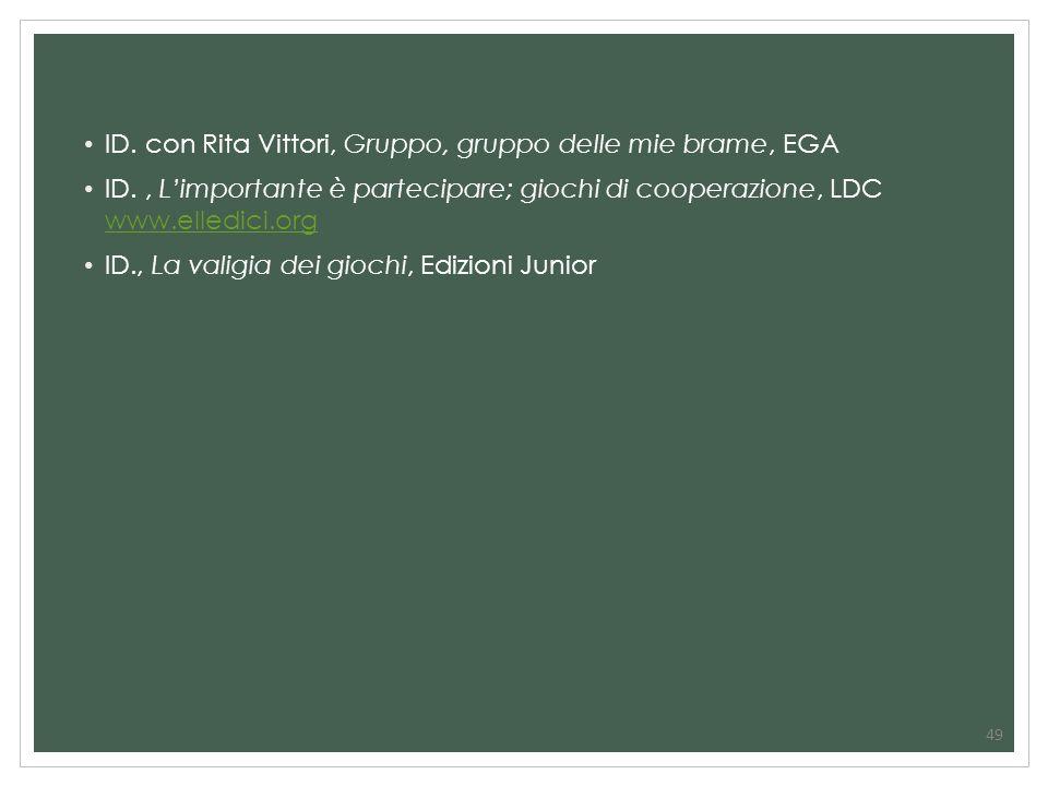 49 ID. con Rita Vittori, Gruppo, gruppo delle mie brame, EGA ID., Limportante è partecipare; giochi di cooperazione, LDC www.elledici.org www.elledici