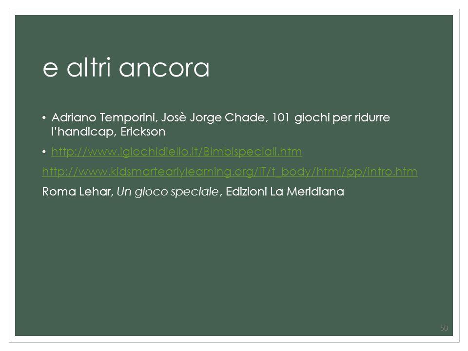 50 e altri ancora Adriano Temporini, Josè Jorge Chade, 101 giochi per ridurre lhandicap, Erickson http://www.igiochidielio.it/Bimbispeciali.htm http:/