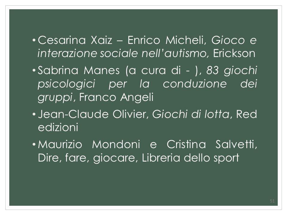 51 Cesarina Xaiz – Enrico Micheli, Gioco e interazione sociale nellautismo, Erickson Sabrina Manes (a cura di - ), 83 giochi psicologici per la conduz