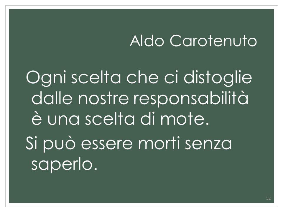 Aldo Carotenuto Ogni scelta che ci distoglie dalle nostre responsabilità è una scelta di mote. Si può essere morti senza saperlo. 52