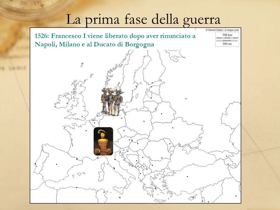 La prima fase della guerra 1521: I lanzichenecchi invadono Milano che viene restituita a Francesco II Sforza 1522: Lesercito imperiale sconfigge i francesi al Castello della Bicocca 1525: La Francia subisce una disfatta a Pavia e Francesco I viene catturato e portato a Madrid 1526: Francesco I viene liberato dopo aver rinunciato a Napoli, Milano e al Ducato di Borgogna