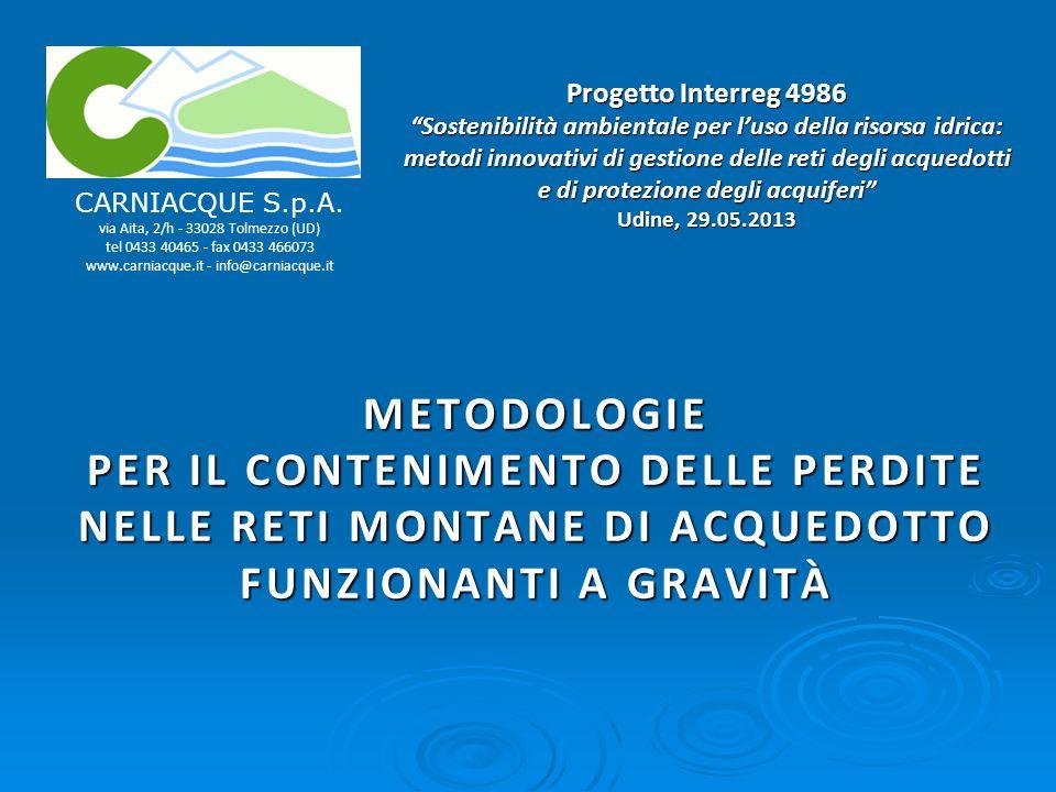 Progetto Interreg 4986 Sostenibilità ambientale per luso della risorsa idrica: metodi innovativi di gestione delle reti degli acquedotti e di protezione degli acquiferi Udine, 29.05.2013 METODOLOGIE PER IL CONTENIMENTO DELLE PERDITE NELLE RETI MONTANE DI ACQUEDOTTO FUNZIONANTI A GRAVITÀ CARNIACQUE S.p.A.