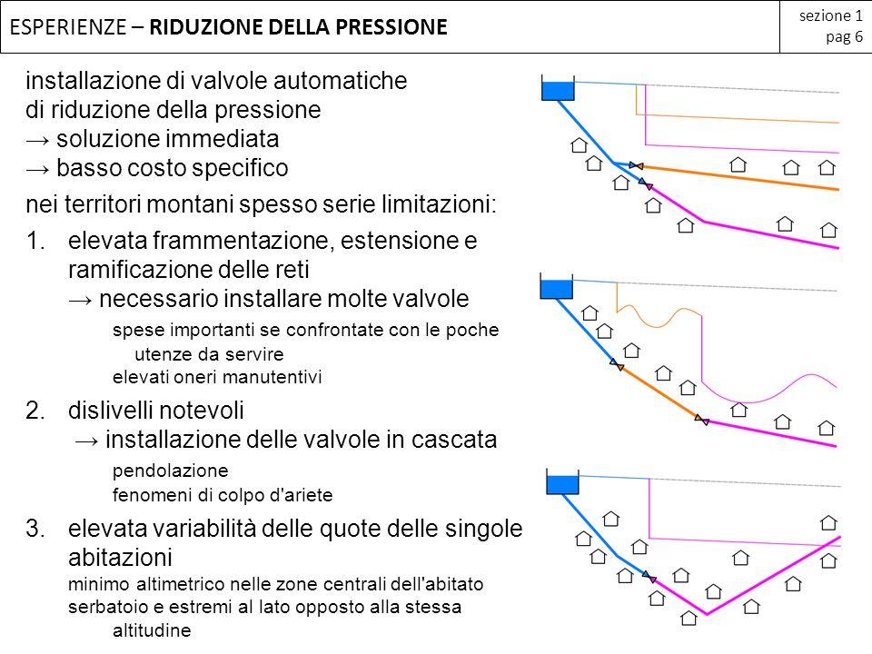 ESPERIENZE – RIDUZIONE DELLA PRESSIONE sezione 1 pag 6 installazione di valvole automatiche di riduzione della pressione soluzione immediata basso cos