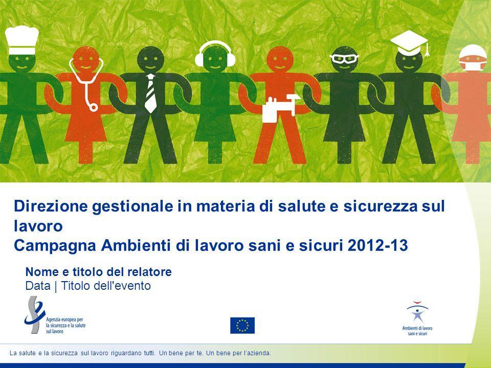 Direzione gestionale in materia di salute e sicurezza sul lavoro Campagna Ambienti di lavoro sani e sicuri 2012-13 Nome e titolo del relatore Data | T