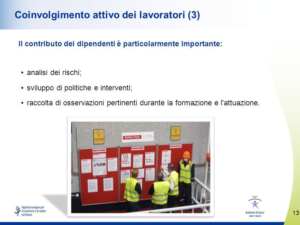 13 www.healthy-workplaces.eu Coinvolgimento attivo dei lavoratori (3) Il contributo dei dipendenti è particolarmente importante: analisi dei rischi; s