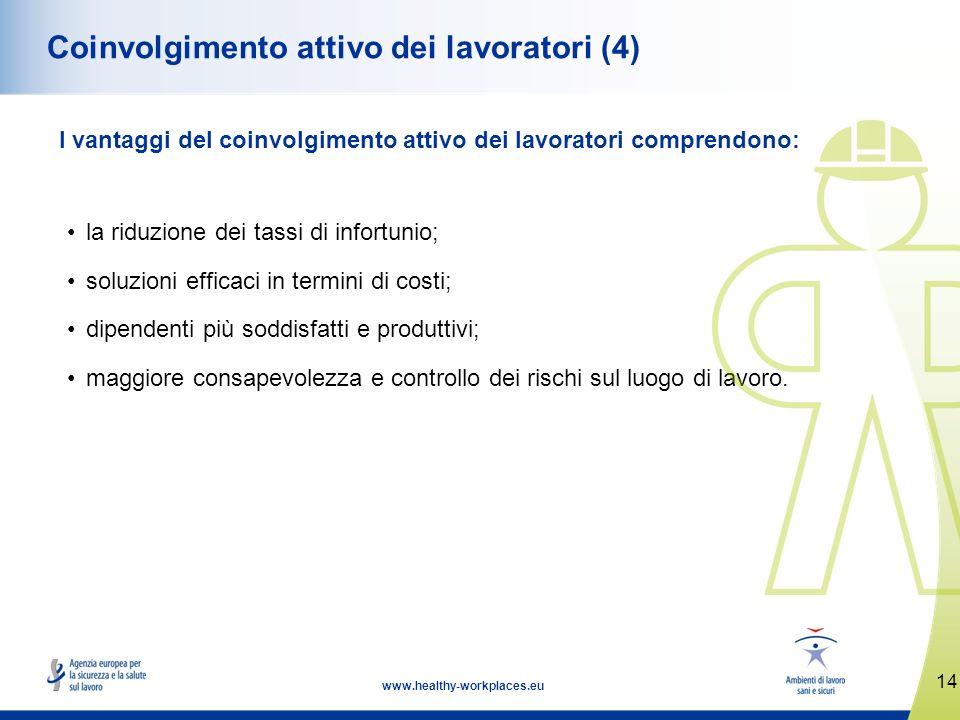 14 www.healthy-workplaces.eu Coinvolgimento attivo dei lavoratori (4) I vantaggi del coinvolgimento attivo dei lavoratori comprendono: la riduzione de
