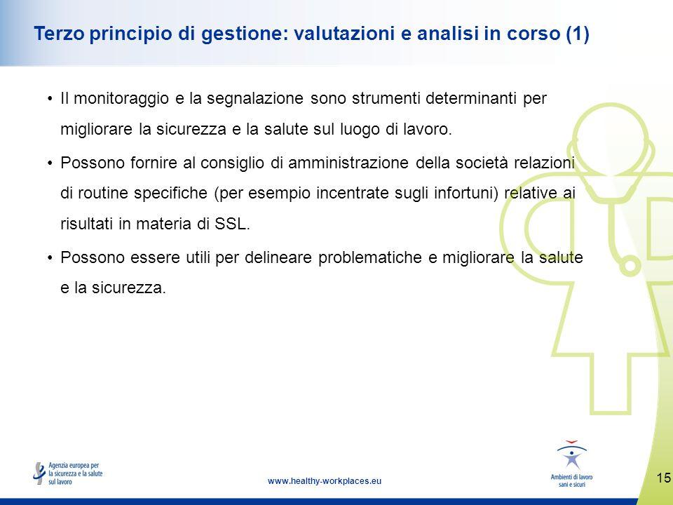 15 www.healthy-workplaces.eu Terzo principio di gestione: valutazioni e analisi in corso (1) Il monitoraggio e la segnalazione sono strumenti determin