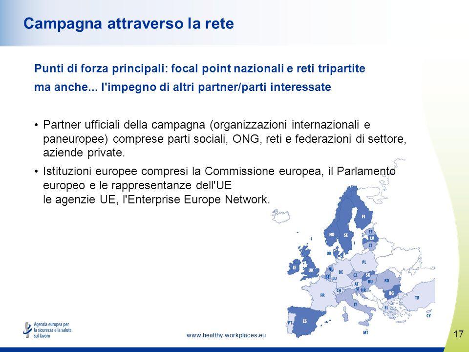 www.healthy-workplaces.eu Punti di forza principali: focal point nazionali e reti tripartite ma anche... l'impegno di altri partner/parti interessate