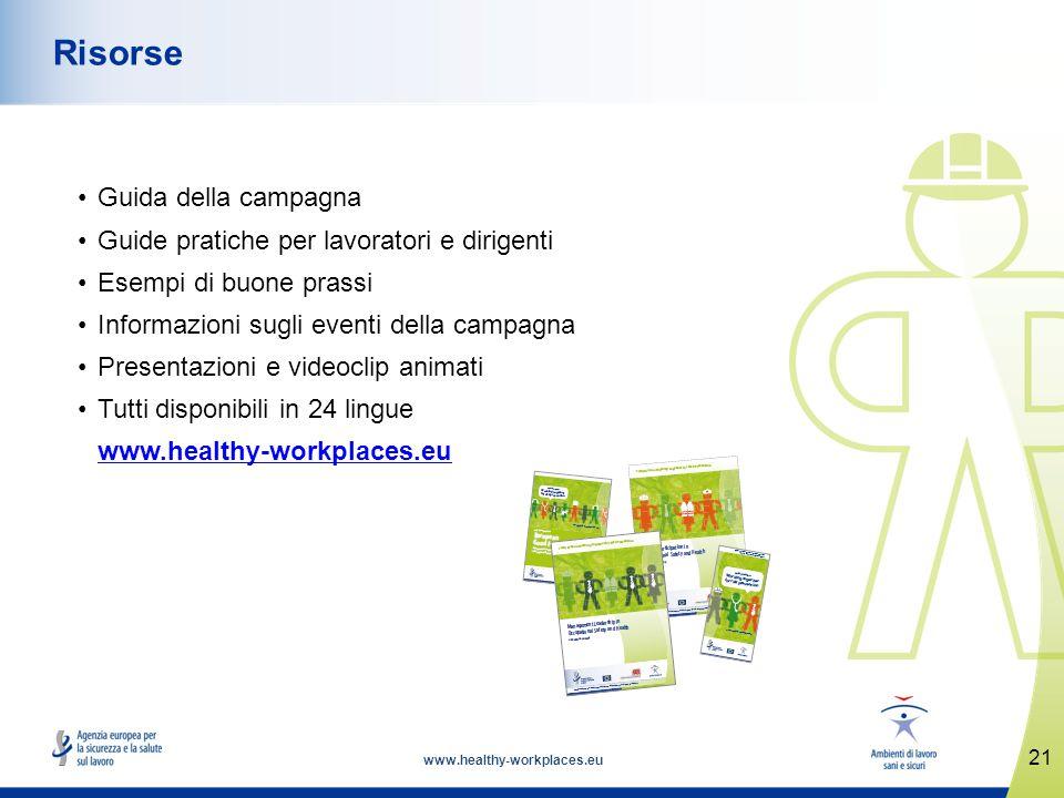 www.healthy-workplaces.eu Guida della campagna Guide pratiche per lavoratori e dirigenti Esempi di buone prassi Informazioni sugli eventi della campag
