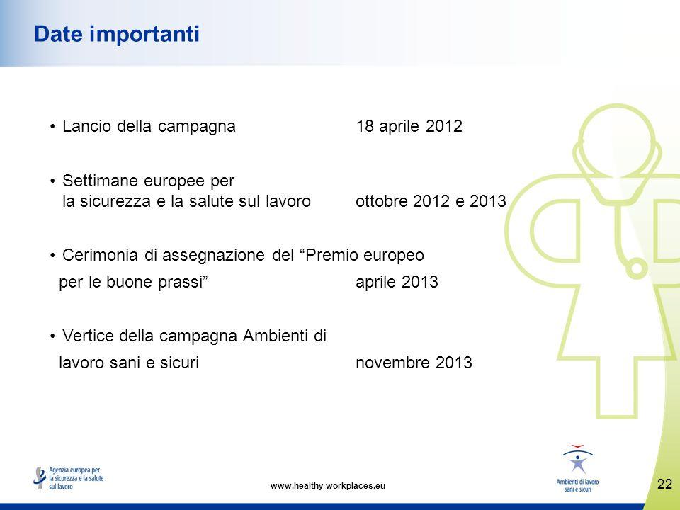 www.healthy-workplaces.eu Lancio della campagna 18 aprile 2012 Settimane europee per la sicurezza e la salute sul lavoro ottobre 2012 e 2013 Cerimonia