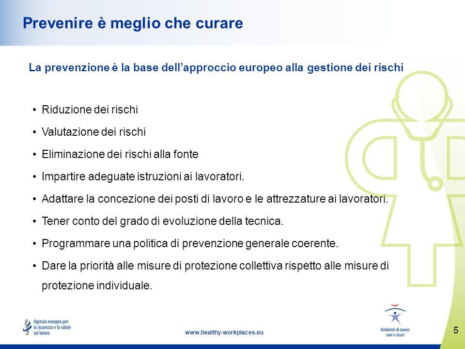 5 www.healthy-workplaces.eu Prevenire è meglio che curare La prevenzione è la base dellapproccio europeo alla gestione dei rischi Riduzione dei rischi