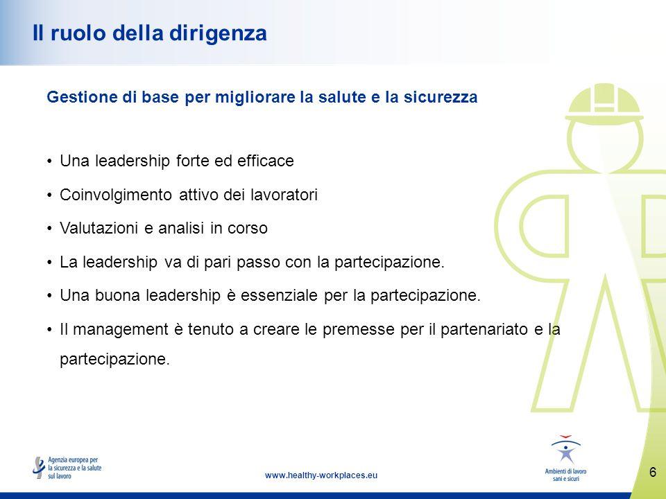7 www.healthy-workplaces.eu Primo principio di gestione: leadership, salute e sicurezza (1) Una leadership forte ed efficace nell ambito della salute e della sicurezza è di importanza fondamentale.