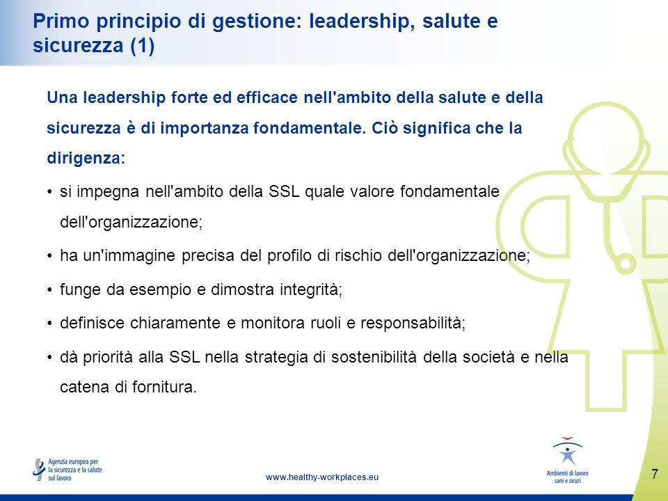 7 www.healthy-workplaces.eu Primo principio di gestione: leadership, salute e sicurezza (1) Una leadership forte ed efficace nell'ambito della salute