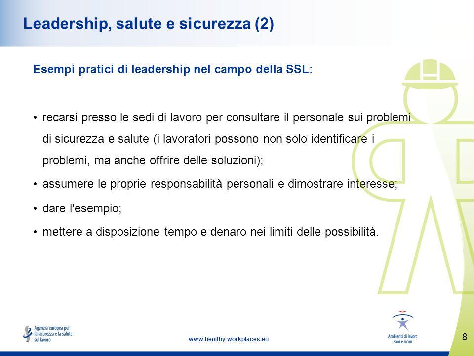 8 www.healthy-workplaces.eu Leadership, salute e sicurezza (2) Esempi pratici di leadership nel campo della SSL: recarsi presso le sedi di lavoro per