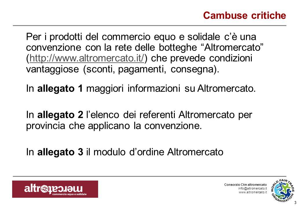 Consorzio Ctm altromercato info@altromercato.it www.altromercato.it 3 Cambuse critiche Per i prodotti del commercio equo e solidale cè una convenzione