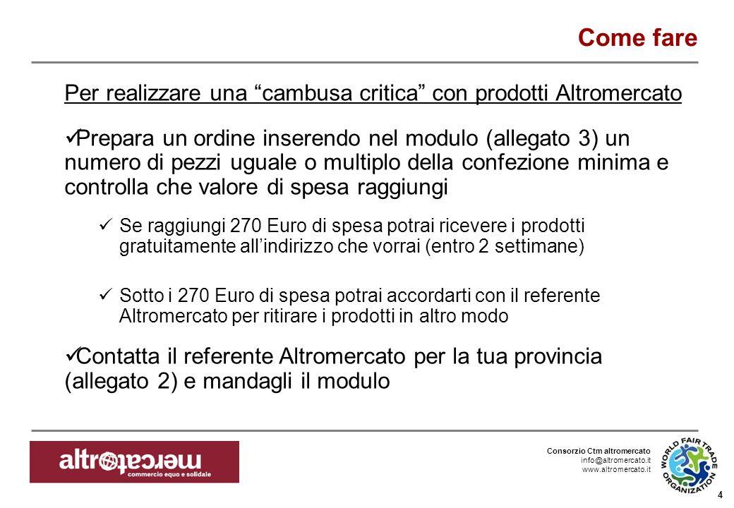 Consorzio Ctm altromercato info@altromercato.it www.altromercato.it 4 Come fare Per realizzare una cambusa critica con prodotti Altromercato Prepara u