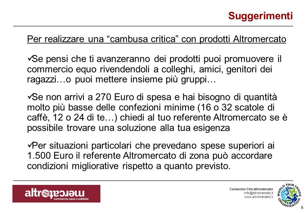 Consorzio Ctm altromercato info@altromercato.it www.altromercato.it 6 Suggerimenti Per realizzare una cambusa critica con prodotti Altromercato Se pen