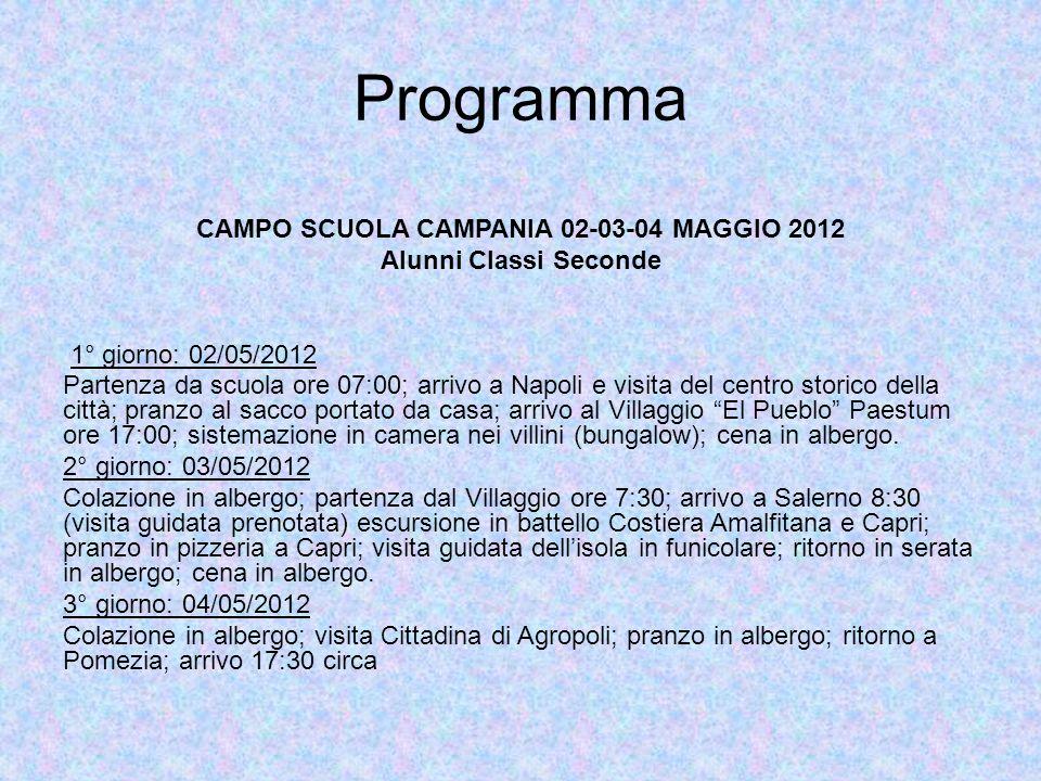 Programma CAMPO SCUOLA CAMPANIA 02-03-04 MAGGIO 2012 Alunni Classi Seconde 1° giorno: 02/05/2012 Partenza da scuola ore 07:00; arrivo a Napoli e visit