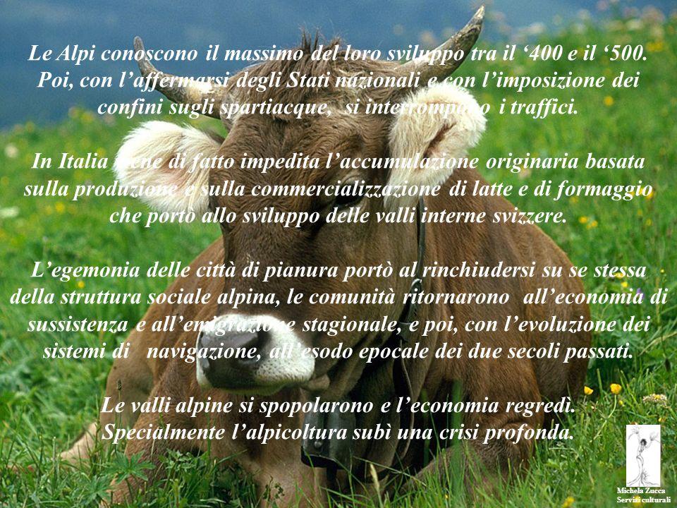 Michela Zucca Servizi culturali Le Alpi conoscono il massimo del loro sviluppo tra il 400 e il 500. Poi, con laffermarsi degli Stati nazionali e con l