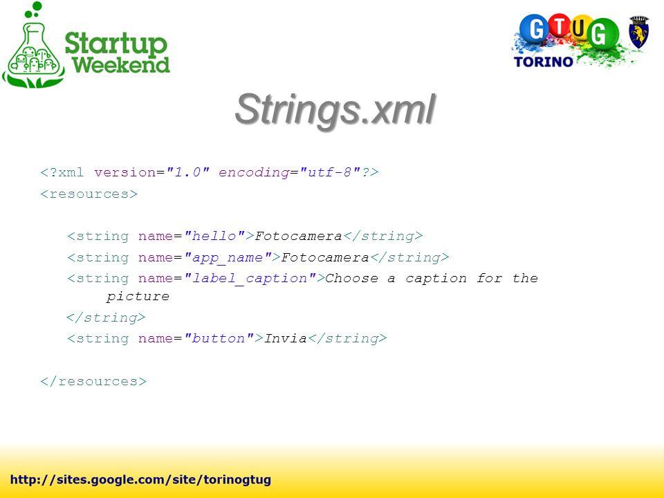 Strings.xml Fotocamera Choose a caption for the picture Invia