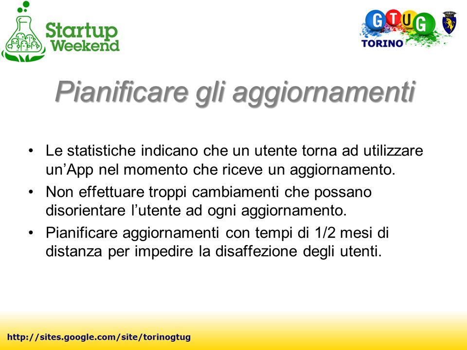 Pianificare gli aggiornamenti Le statistiche indicano che un utente torna ad utilizzare unApp nel momento che riceve un aggiornamento.