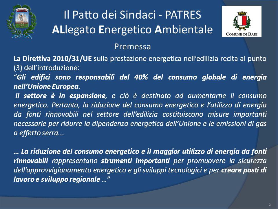Il Patto dei Sindaci - PATRES ALlegato Energetico Ambientale 2 Premessa La Direttiva 2010/31/UE sulla prestazione energetica nelledilizia recita al punto (3) dellintroduzione: Gli edifici sono responsabili del 40% del consumo globale di energia nellUnione Europea.