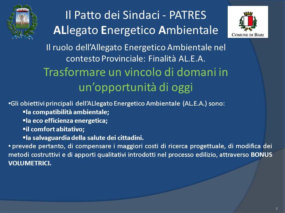 Il Patto dei Sindaci - PATRES ALlegato Energetico Ambientale 8 Il ruolo dellAllegato Energetico Ambientale nel contesto Provinciale: Finalità AL.E.A.