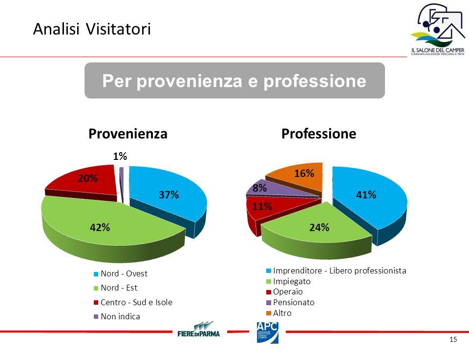 15 Per provenienza e professione Analisi Visitatori ProvenienzaProfessione