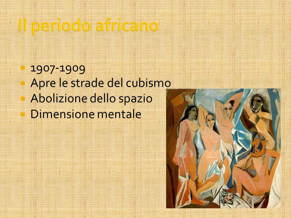 1907-1909 Apre le strade del cubismo Abolizione dello spazio Dimensione mentale